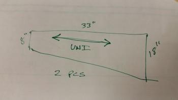 Measurements for bottom UNI ply