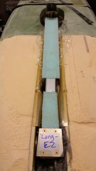 """Gear strut covered in ~3/16"""" blue foam"""