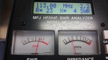 VOR/LOC antenna VSWR test 2.2…very good!
