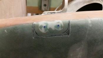 Left side gear mount cut with Fein saw