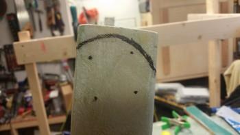 Final markup of left gear leg