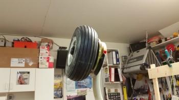 Left wheel & brake installed