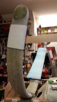 Left gear leg Fiberfrax wrap