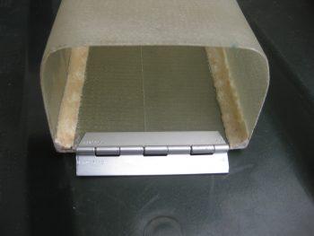 Tool box hinge cut