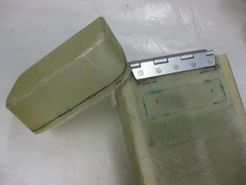 Hinge riveted & lid cut line