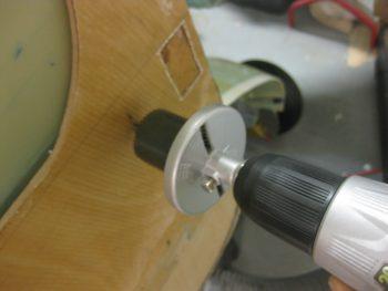 Drilling aileron control bearing hole