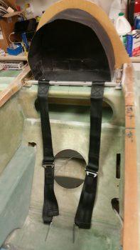 Seatbelt straps mocked up on cross bar