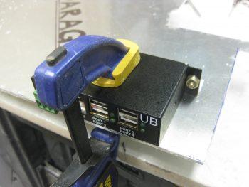 Mounting 4-port USB hub to angle brackets